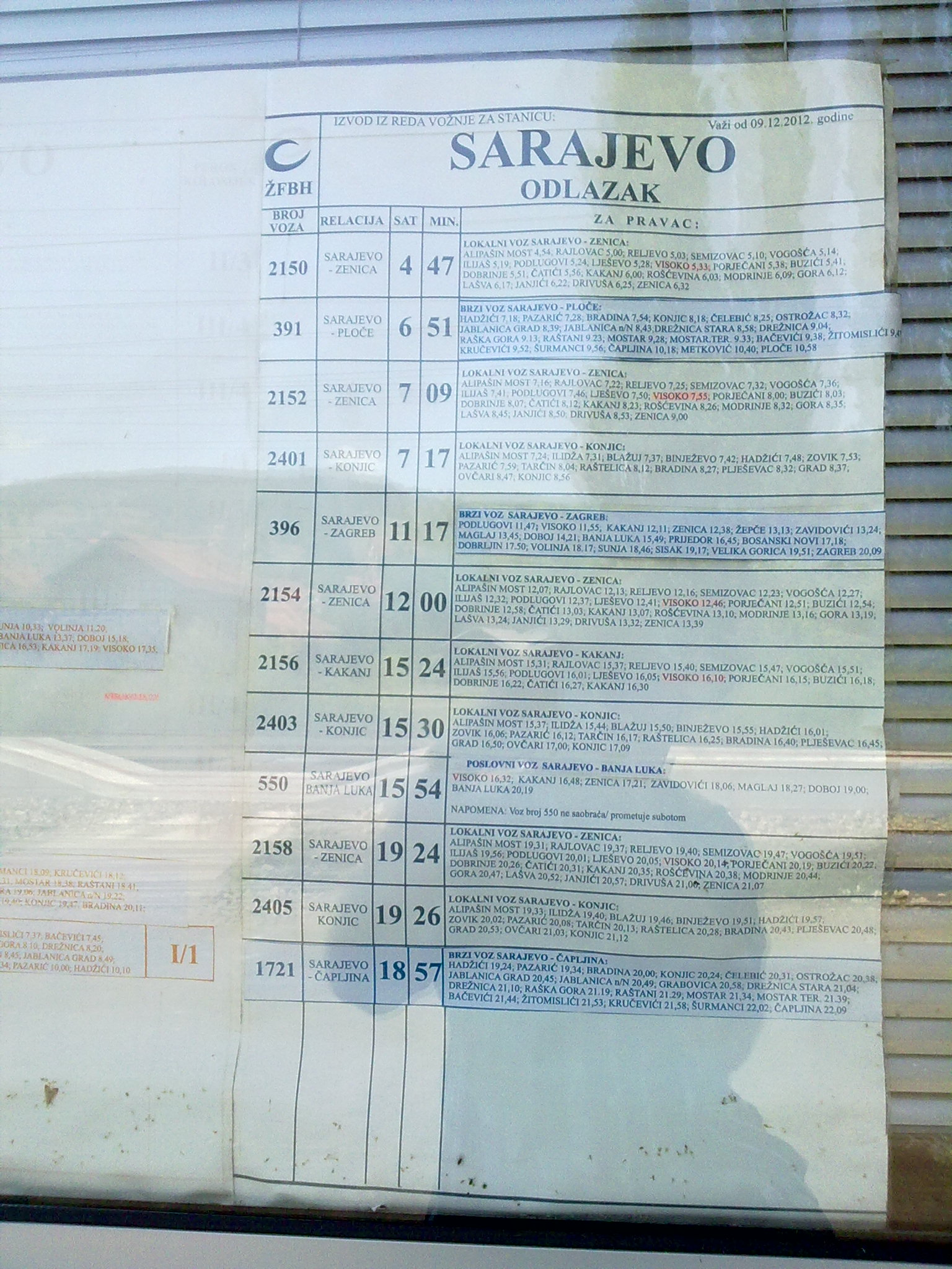 Timetable for trains departing from